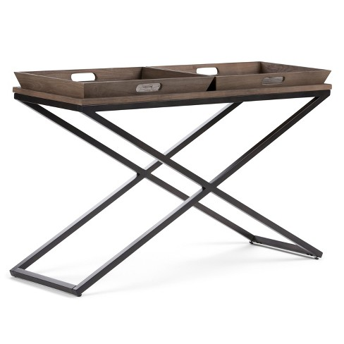 """50"""" Poulton Solid Aged Elm Wood Console Table Distressed Natural Elm - Wyndenhall - image 1 of 4"""