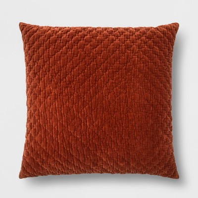 Hand-Quilted Velvet With Zipper Closure Oversize Square Throw Pillow Orange - Threshold™