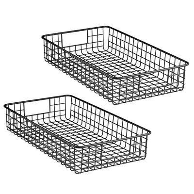 mDesign Metal Wire Food Organizer Storage Bins with Handles