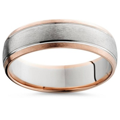 Pompeii3 14K Rose & White Gold Two Tone Mens Wedding Band