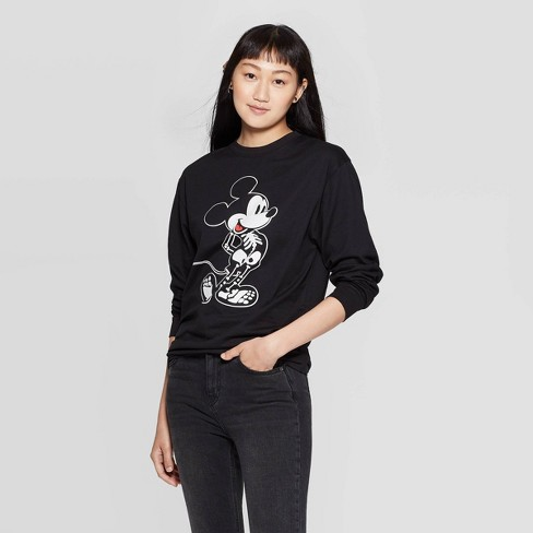 Women's Skeleton Mickey Long Sleeve T-Shirt (Juniors') - Black - image 1 of 4