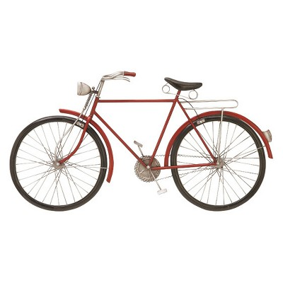 Metal Bike Decorative Wall Art 19 X 36 Red - Olivia & May