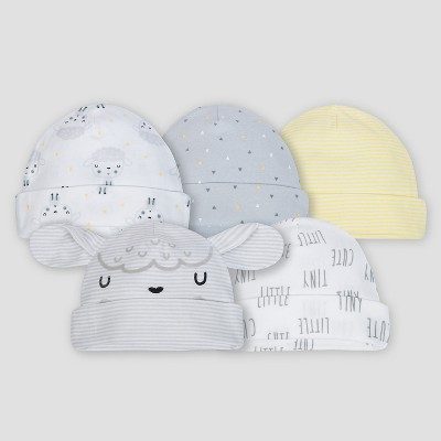 Gerber® Baby's 5pk Caps Sheeps - Gray/White/Yellow 0/6M