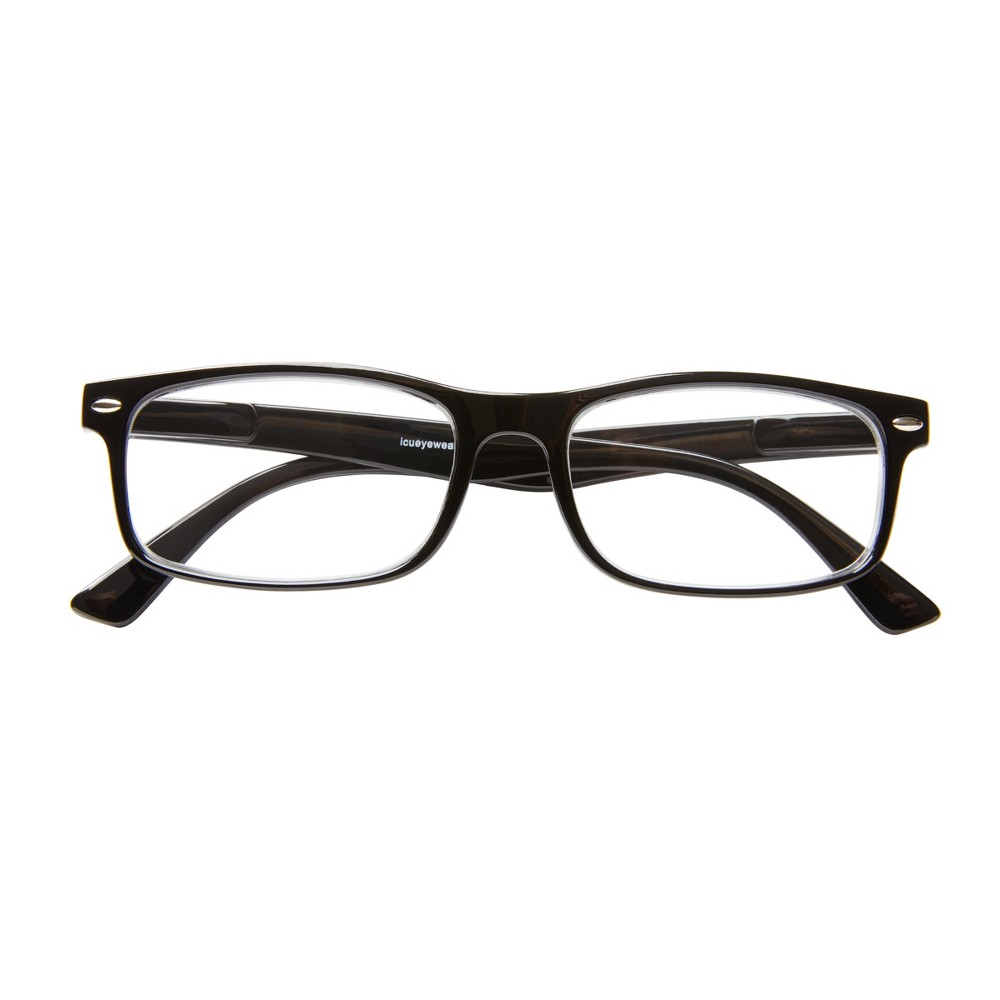 Emeryville Reading Glasses - Shiny Blk. with metal studs +1.50, Black/Grey