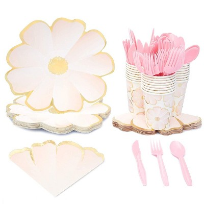 Sparkle and Bash Flower Party Supplies for Birthdays and Celebrations (Serves 24)