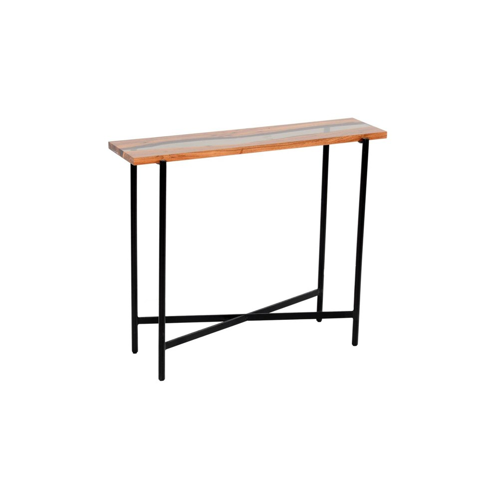 """Image of """"36"""""""" Rivers Edge Acacia Wood and Acrylic Narrow Console/Entryway Table Brown - Alaterre Furniture"""""""