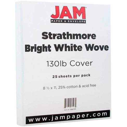 JAM Paper Extra Heavy Weight 130lb Cardstock - 8.5 x 11 - Bright White Wove Strathmore - 25 Sheets - image 1 of 3