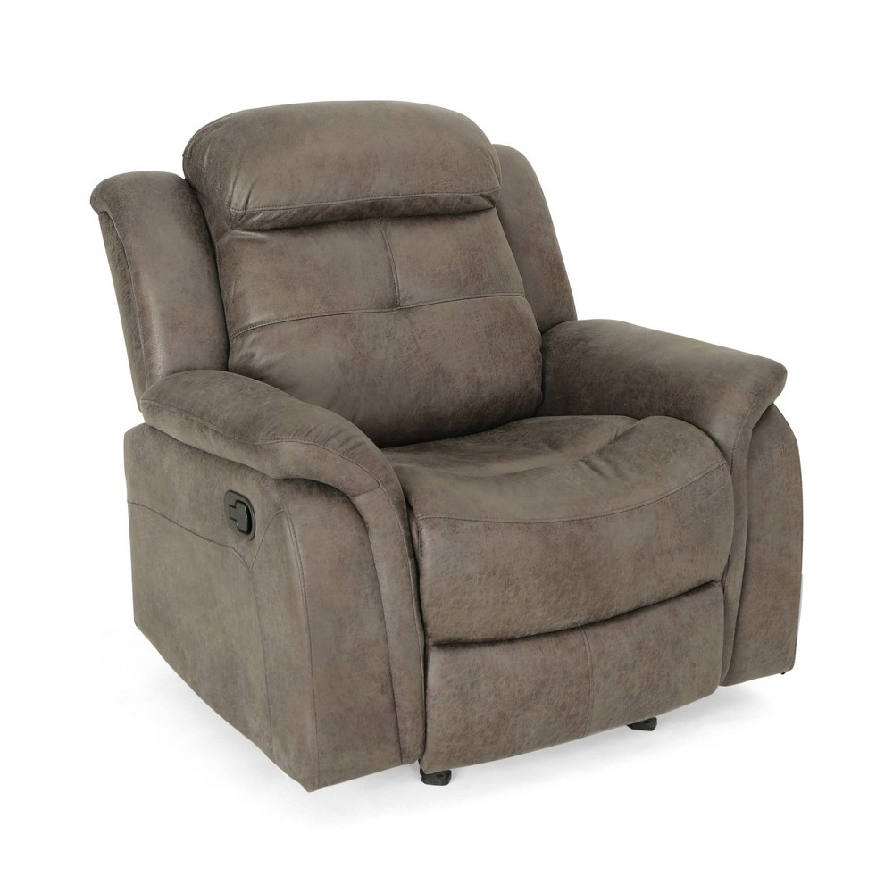 Amadeus Contemporary Fabric Upholstered Rocking Glider Recliner Slate Christopher Knight Home