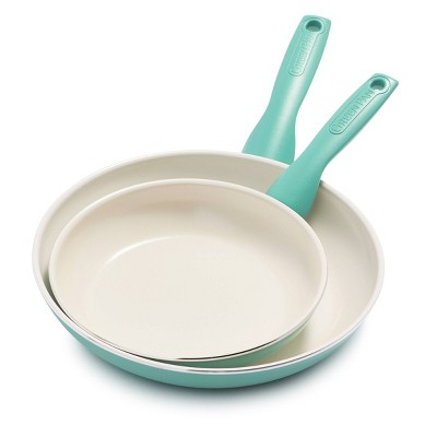 "GreenPan Rio 8"" and 10"" Ceramic Non-Stick Cookware Set Turquoise"