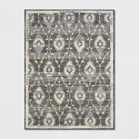 9 X12 Floral Tufted Wool Area Rugs Gray Threshold Target
