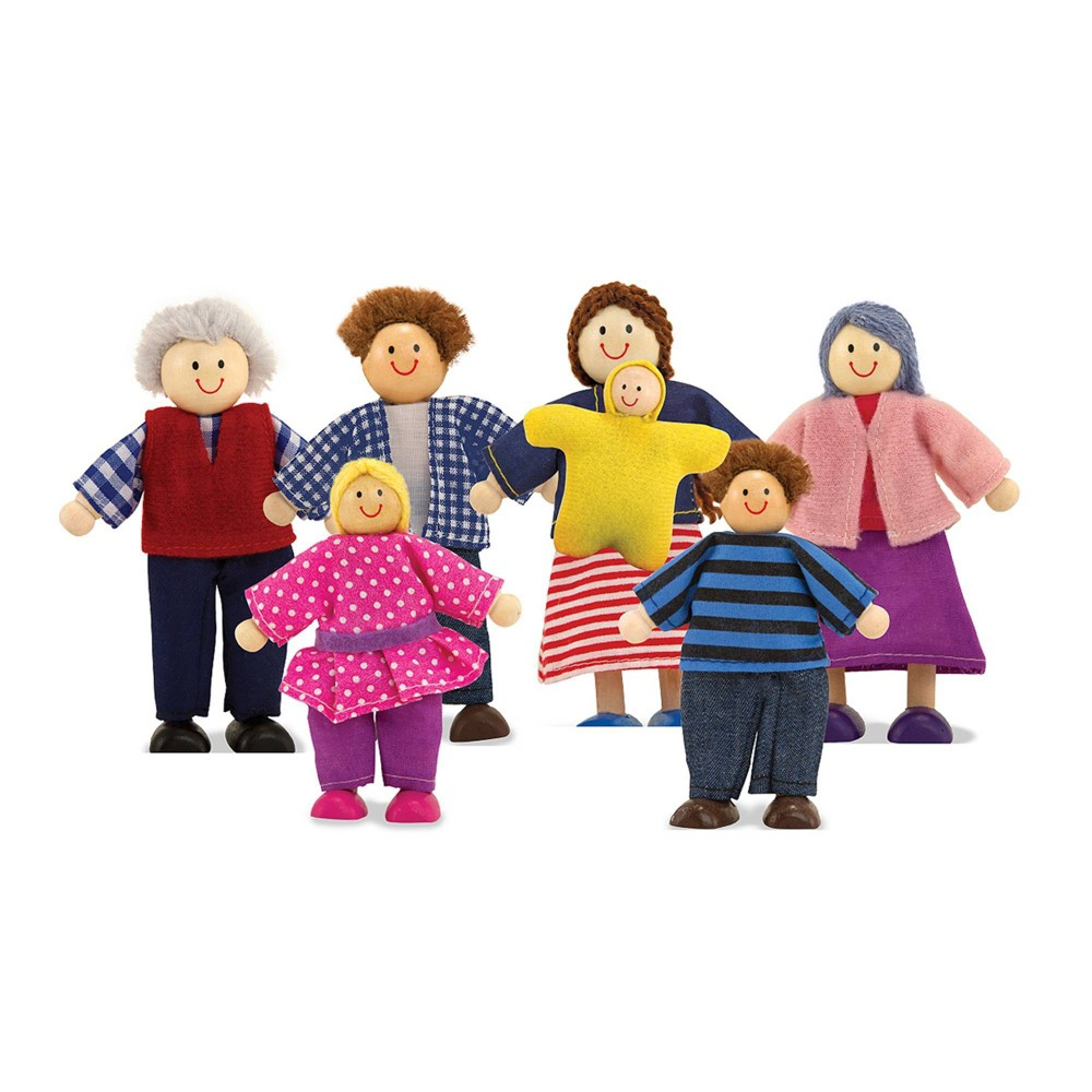 Melissa 38 Doug 7 Piece Poseable Wooden Doll Family For Dollhouse 2 4 Inches Each