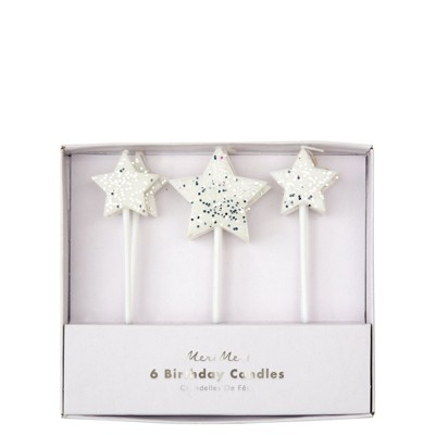 Meri Meri - Silver Glitter Star Candles - Cake Candles - 6ct