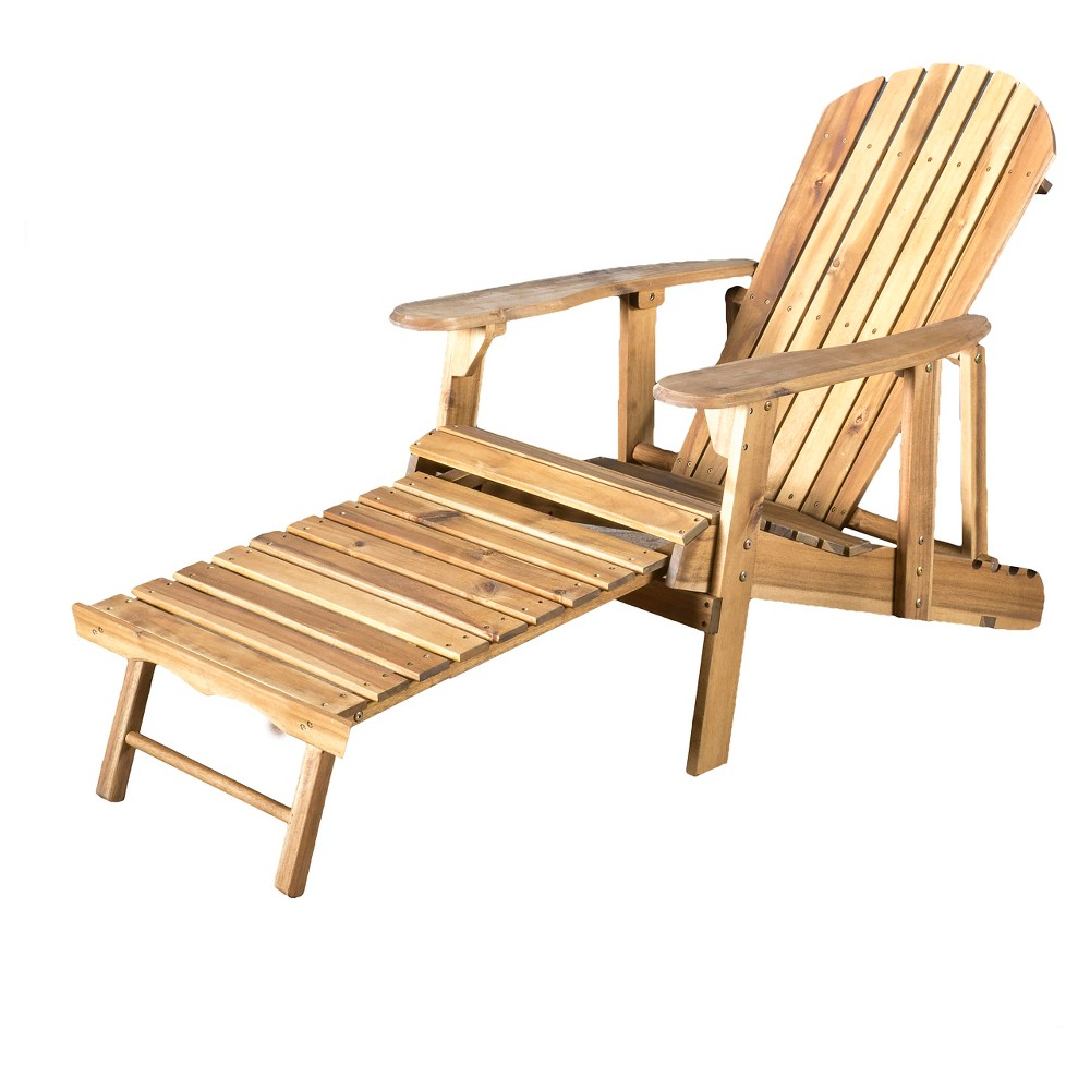 Hayle Reclining Wood Adirondack Chair with Footrest - Natural Stained - Christopher Knight Home