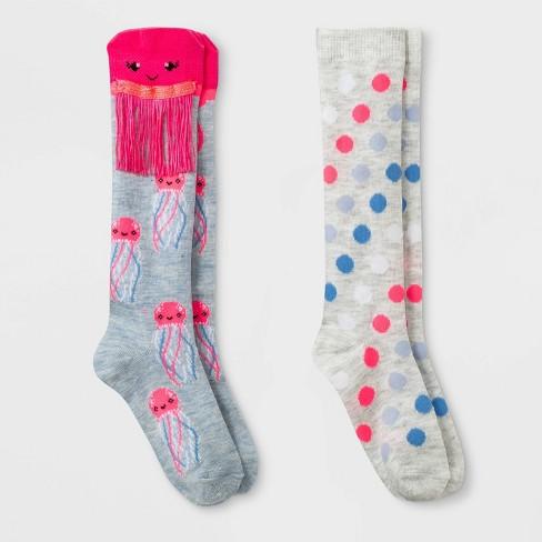 33f6ea98df3 Girls  2pk Jellyfish Print Socks - Cat   Jack™ Pink   Target