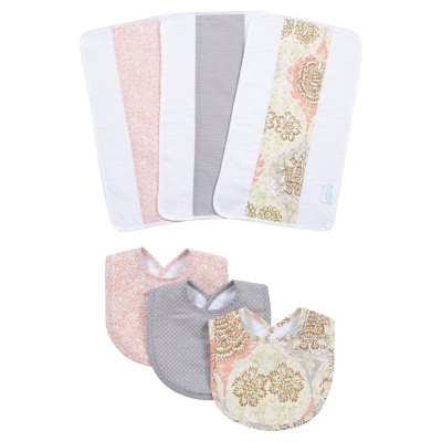 Waverly Baby® by Trend Lab® Rosewater Glam Bib and Burp Cloth Set - Light Pink 6pc