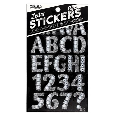 ArtSkills 130ct Peel & Stick Gem Letters/Numbers/Symbols - Silver - image 1 of 3