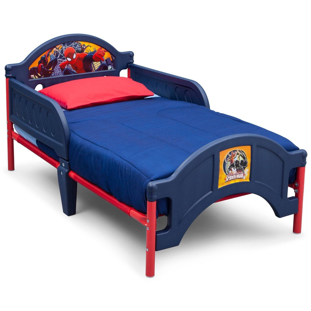 Image of Toddler Spider-Man Plastic Bed - Delta Children