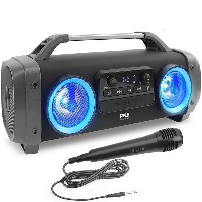 Pyle PBMSPG144 500 Watt Bluetooth Portable Boombox Karaoke Speaker System w/ DJ Flashing Party Lights, Aux/USB/Micro SD input, and Handheld Microphone