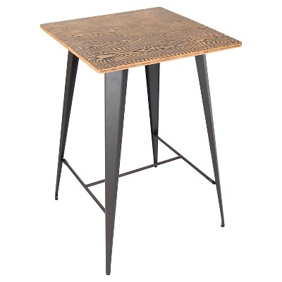 "41"" Oregon Industrial Bar Height Pub Table Matte Gray Metal with Medium Brown Wood Top - LumiSource"