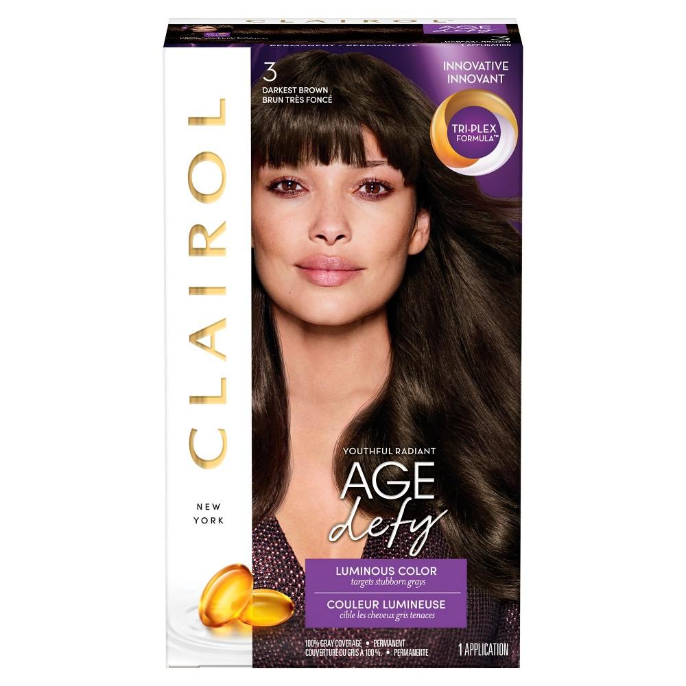 Image of Clairol Age Defy Permanent Hair Color - 3 Darkest Brown - 1 kit, 3 - Darkest Brown