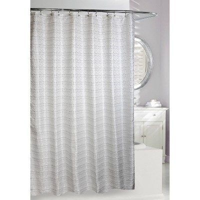 Avenue Road Shower Curtain White/Silver - Moda at Home