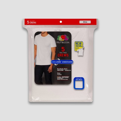 6433db8446 Fruit Of The Loom Men's 5pk Coolzone Crew-Neck T-Shirt - White : Target