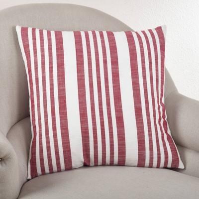 Down Filled Striped Design Pillow Red - Saro Lifestyle