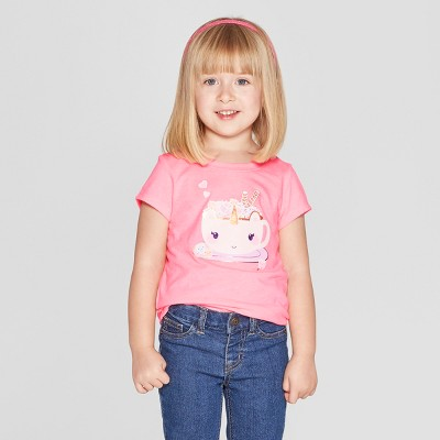 Toddler Girls' Short Sleeve 'Unicorn' Graphic T-Shirt - Cat & Jack™ Pink 18M