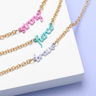 Girls' 3pk Glitter Necklaces - More Than Magic™