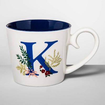 16oz Stoneware Monogram Mug Cream K - Opalhouse™