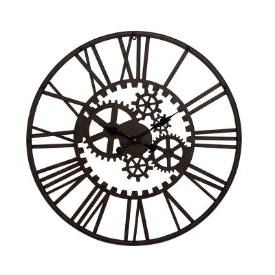 "32"" industrial Iron Gear Wall Clock - Olivia & May"