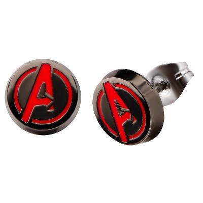Women's Marvel The Avengers Logo Stainless Steel Stud Earrings - Black/Red