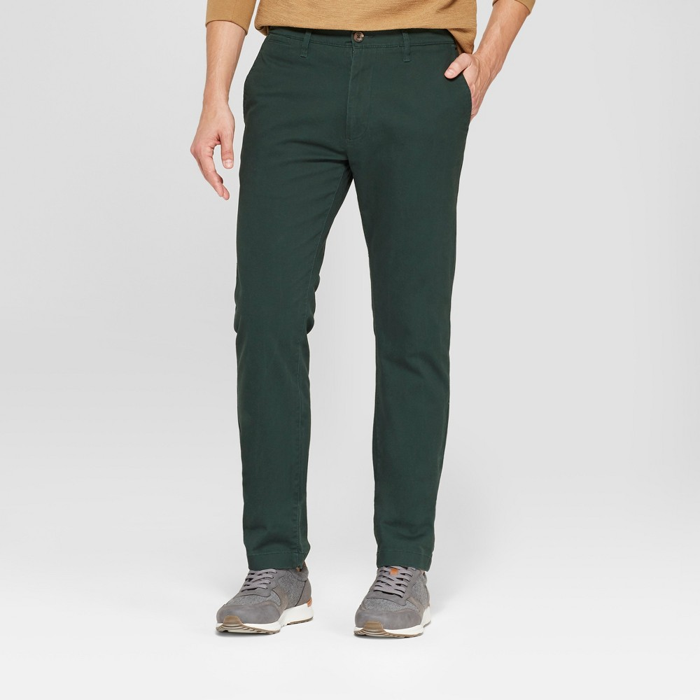 Men's Slim Fit Hennepin Chino - Goodfellow & Co Forest Green 38x32
