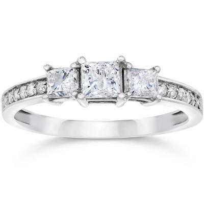 Pompeii3 1/2ct Three Stone Princess Cut Diamond Engagement Ring 14K White Gold