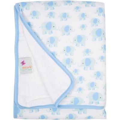 MiracleWare Muslin Baby Blanket Elephant Blue