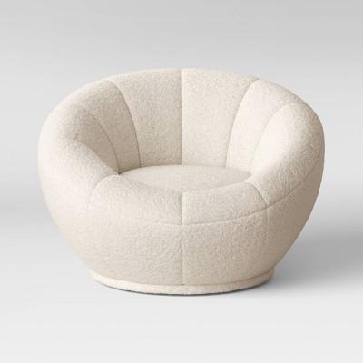Low-Profile Round Swivel Chair Cream Sherpa - Room Essentials™