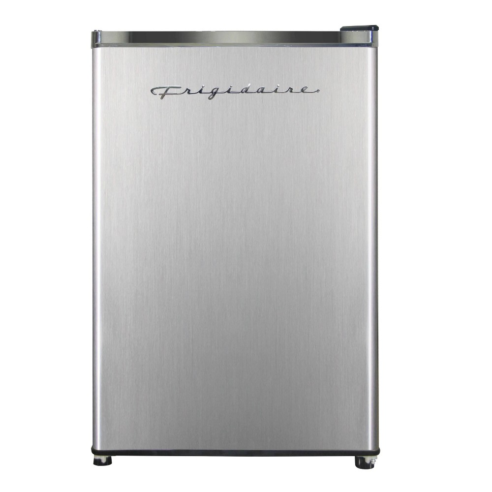 Frigidaire 4.5 cu ft Single-Door Refrigerator - Platinum With 4.5CF capacity, this Frigidaire compact size refrigerator works great for a bar area, dorm room, or during the holidays when extra space comes in handy. Easily maximize space with the adjustable glass shelves and a door basket for 2L bottles. Compressor cooling and CFC free. Door is reversible. Adjustable legs to make it easy to stabilize.