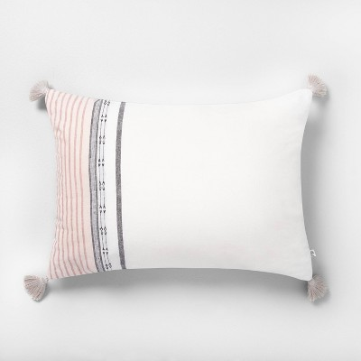 "14"" x 20"" Engineered Ombre Border Throw Pillow Sour Cream/Rose - Hearth & Hand™ with Magnolia"