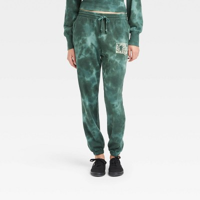 Women's Keith Haring Graphic Jogger Pants - Green Tie-Dye