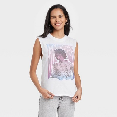 Women's Jimmy Hendrix Muscle Graphic Tank Top - White