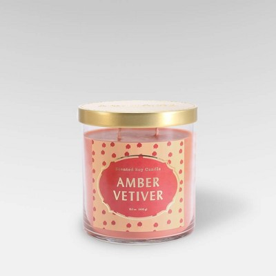 15.1oz Lidded Glass Jar 2-Wick Candle Amber Vetiver - Opalhouse™