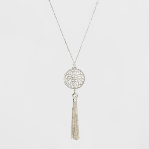 Filigree, CCB, and Tassel Long Necklace - A New Day™ Silver - image 1 of 3