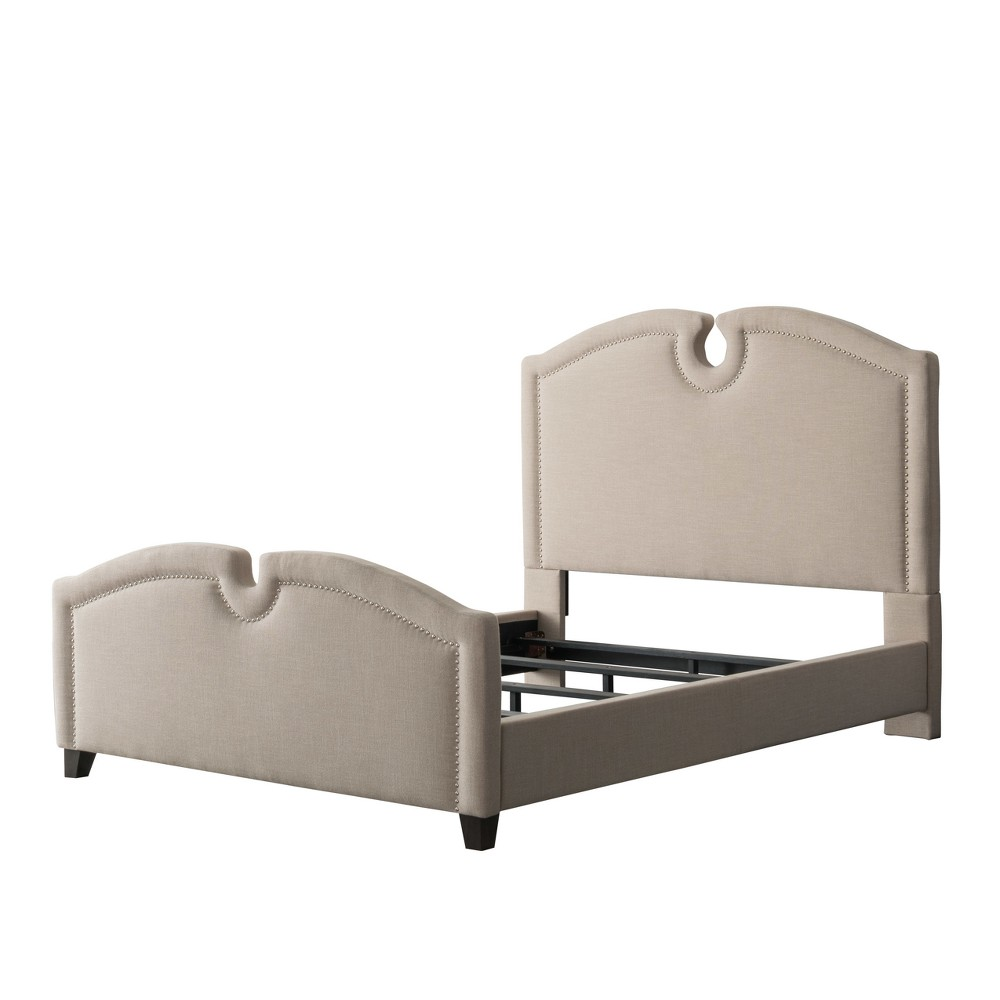 Fairfield Fabric Curved Top Bed Twin/Single Beige - CorLiving