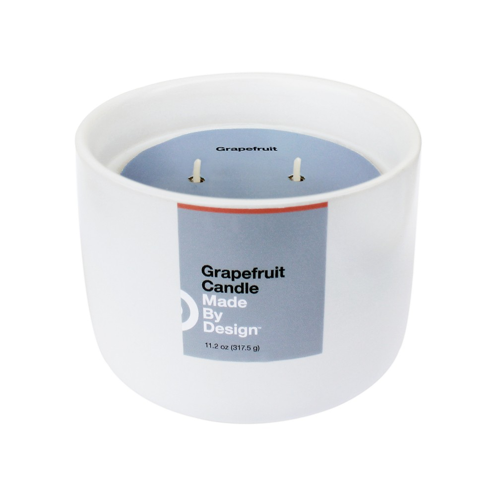 Image of 11.2oz Ceramic 2-Wick Candle Grapefruit - Made By Design , White