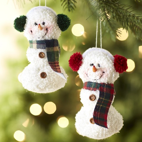Lakeside Set Of 2 Plush Snowman Christmas Tree Ornaments With String For Hanging Target