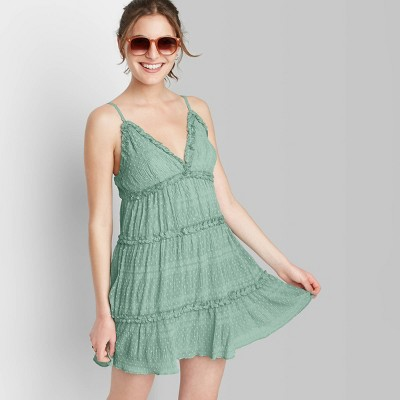 Women's Sleeveless Triangle Cup Tiered Airy Dress - Wild Fable™