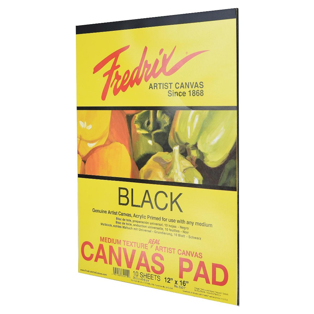 "Image of ""Fredrix Black Canvas Pads, 10 sheets, 12 X 16"""""""