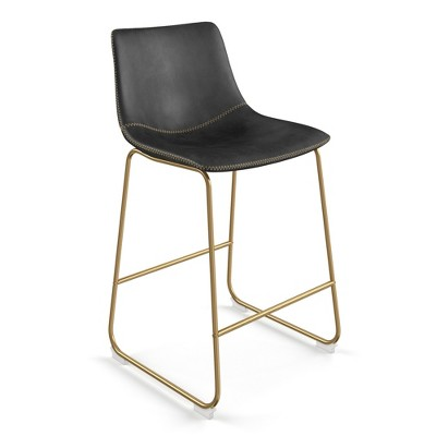 Set of 2 Petra Upholstered Counter Height Barstools with Gold Frame - Aeon