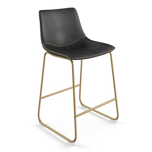 Wondrous Petra Upholstered Counter Stool Set Of 2 Black With Gold Legs Aeon Lamtechconsult Wood Chair Design Ideas Lamtechconsultcom