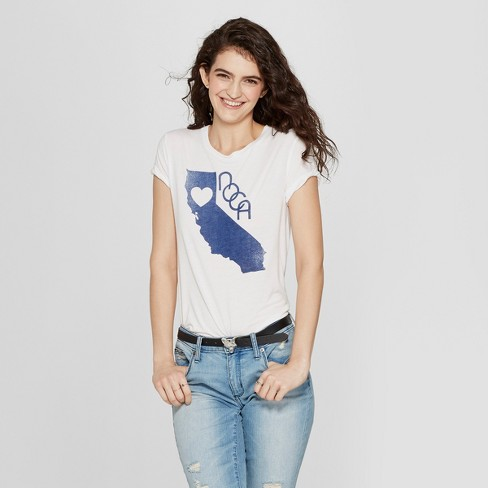 Women's Short Sleeve NOCA Cali State Heart Graphic T-Shirt - Awake White - image 1 of 2